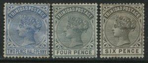 Trinidad QV 1883-84 2 1/2d, 4d, and 6d mint o.g. hinged