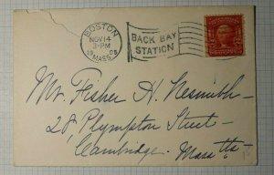 US 1905 Cover Machine Flag Cancel Boston MA Back Bay Station Received Cambridge