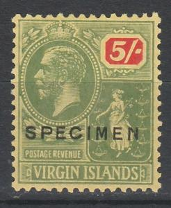 BRITISH VIRGIN ISLANDS 1922 KGV BADGE SPECIMEN 5/- WMK MULTI SCRIPT CA