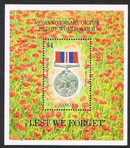 Samoa 894,MNH.Michel Bl.53. End of WW II,50th Ann.1995.The War Medal 1939-1945.