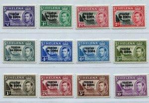KGVI TRISTAN DA CUNHA 1952 OVERPRINT SET ON St HELENA SG & SCOTT 1-12 PERFECT MH