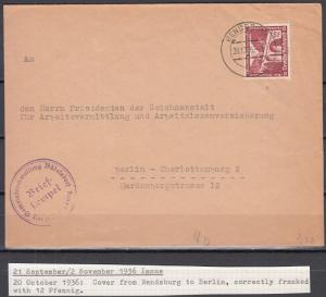 Germany - 20.10.1936 12pf Buildings as single franking correctly franked(5008)