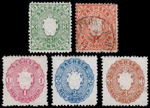 Germany - Saxony Scott 15-19 (1863) Mint/Used H F-VF, CV $15.60