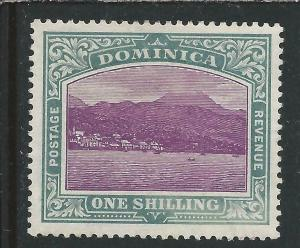 DOMINICA 1903-07 1s MAGENTA & GREY-GREEN CHALKY MM SG 33a CAT £75