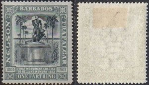 Barbados 1906 ¼d black and grey (Death Centenary of Nelson) MH