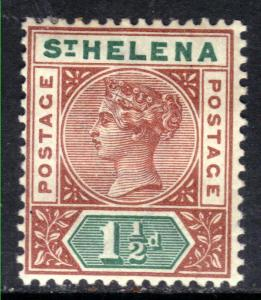 St Helena 1890 - 97 QV 1 1/2d Red Brown & Green MM SG 48 ( 1106 )