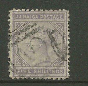 JAMAICA 1875 Sg 15B, perf 12.5, 5/- Lilac, Good used. {B9-64}