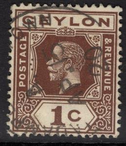 CEYLON SG301 1919 1c BROWN USED