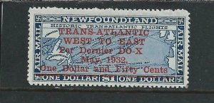 NEWFOUNDLAND 1932 AIR $1.50 on $1 DEEP BLUE MM SG 221 CAT £250
