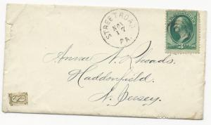 US Local Cover Scott #145L2 Tied by Pen Cancel #158 Tied by Grid PM 1870's