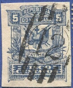 DOMINICAN REPUBLI 1890 H&G B15 5c Used Stationery cut-out, US cancel