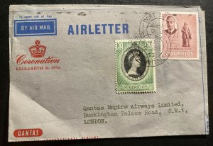1953 Mauritius Air Letter Cover FDC To London Queen Elizabeth II Coronation