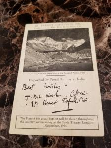 1924 Calcutta India Mount Everest Postcard Cover to England from John Noel