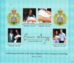 Palau Royalty Stamps 2013 MNH Birth Prince George Royal Baby William 4v M/S