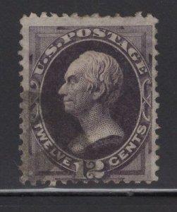 US Stamp Scott #162 12c Blackish Violet Clay USED SCV $135
