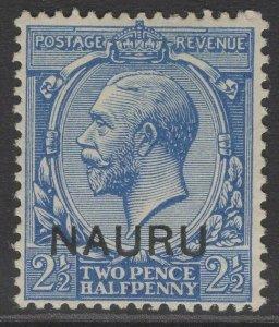 NAURU SG6 1916 2½d BLUE MTD MINT