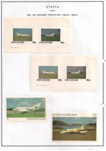 SCOTLAND - STAFFA - 1982 - Private Jets - Perf. Imperf 2v, Souv, D/L Sheets -MLH