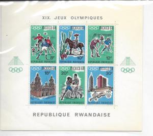 Rwanda, 254, Olympic Games Mexico Sheet(6), **MNH**