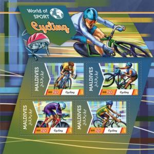 MALDIVES 2015 SHEET CYCLING SPORTS mld15608a