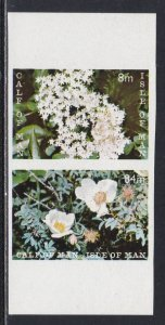 Isle of Man - Calf of Man, Local Issue -Pair of Imperf Flowers Stamps, NH