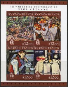 SOLOMON ISLANDS 2016 110th MEMORIAL ANNIVERSARY  OF PAUL CEZANNE SHEET  MINT NH