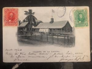 1906 Puerto Cortes Honduras RPPC Postcard Cover Laguna Barracks To Paris France