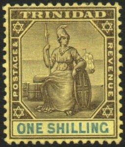 TRINIDAD-1904-09 1/- Black & Blue/Yellow Sg 141 MOUNTED MINT V48569