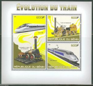 BENIN 2015 EVOLUTION OF THE TRAIN LOCOMOTIVES  SHEET OF THREE STAMPS