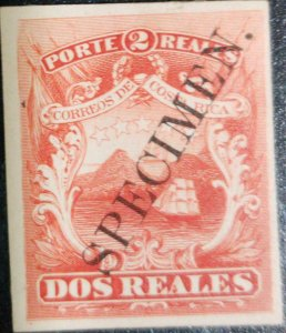 A) 1863, COSTA RICA,  NATIONAL EMBLEM, PROOF WITH LARGE OVERPRINT. SPECIMEN VERY