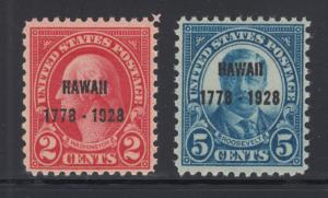 US Sc 647-648 MNH. 1928 Hawaii overprints, cplt set, F-VF
