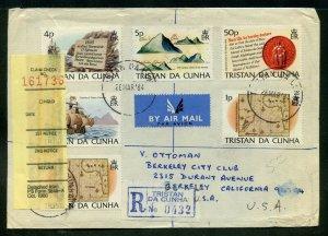 Tristan DA Cunha  1984 REGISTERED/AIRMAIL Cover to Berkley, California