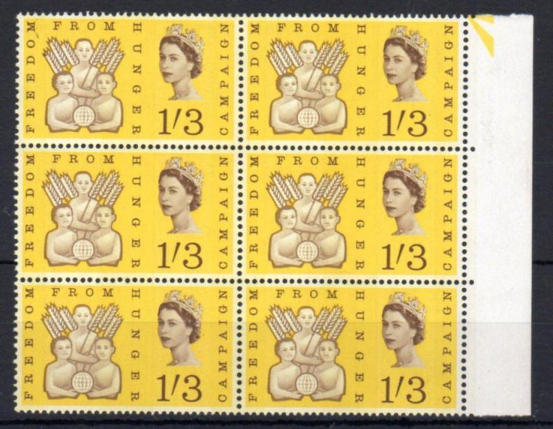 1/3 FREEDOM FROM HUNGER (PHOSPHOR) UNMOUNTED MINT BLOCK OF 6 Cat £180
