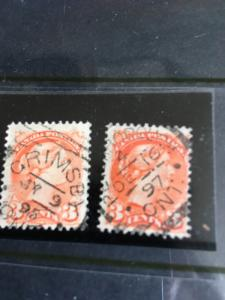 Canada #41 Used Shades - Two Clear Strikes Squared Circle Cancels. 1895 & 1897