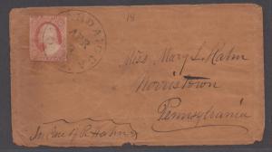**US 19th Century Cover,  SC # 10, Canandaigua, NY, April 9th CDS, CV $280.00