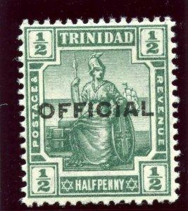 Trinidad & Tobago 1910 KEVII Official ½d green superb MNH. SG O10. Sc O10.