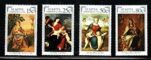 St. Kitts-Sc#418-21- id7-unsed NH set-Christmas-Paintings-1996-