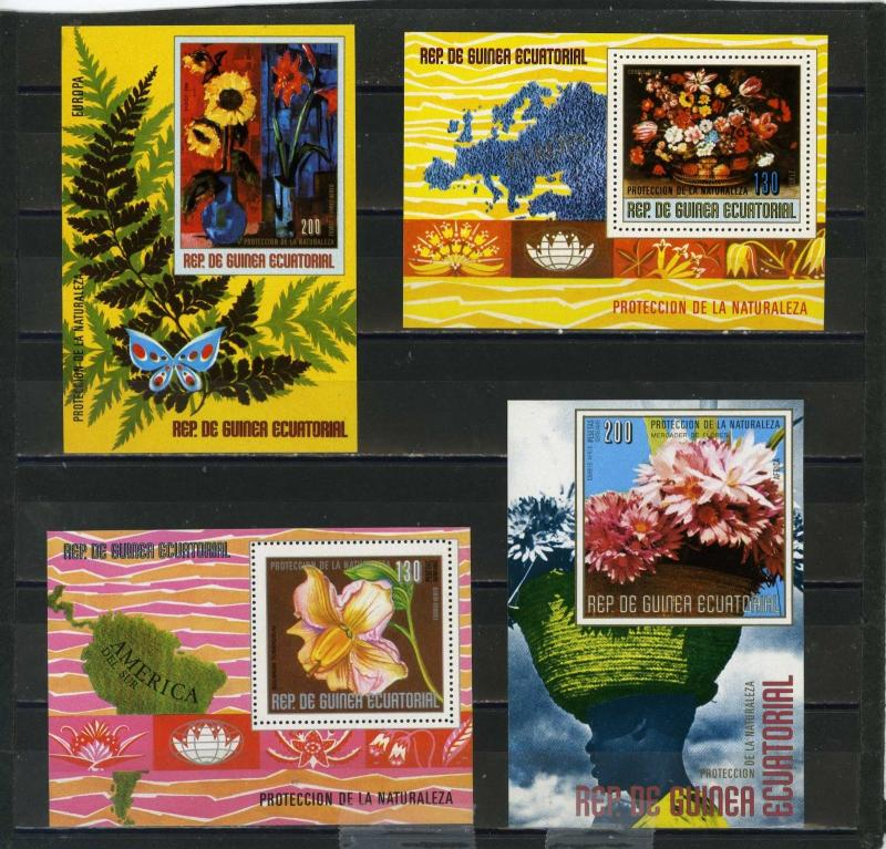 EQUATORIAL GUINEA FLOWERS SMALL COLLECTION SET OF 4 S/S MNH