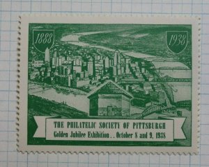 Philatelic Society of Pittsburgh 1938 Golden Jubilee Expo Souveir Ad Label