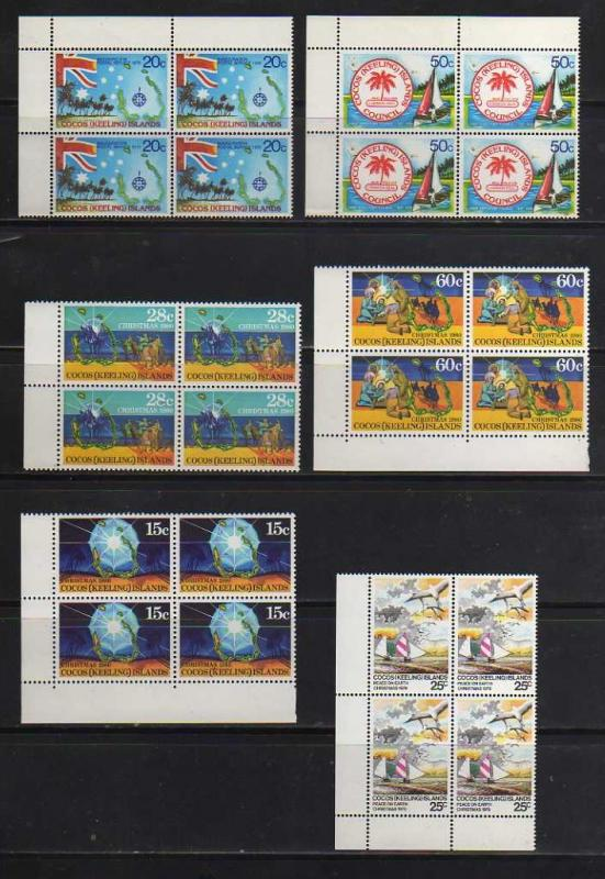 Cocos Islands MNH sc# 32//80 Complete Sets in Blocks of 4