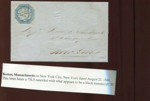 75L5 Hale & Co. Local Stamp On 1844 Cover  Boston to New York City (75L5 A20)