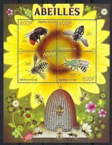 Congo MNH S/S Honey Bees & Hive  Insects 2014