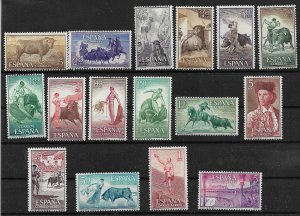 1960 Spain 909-20 + C159-62 complete MNH Bull fighting set of 16
