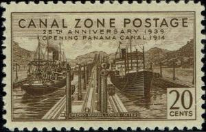 CANAL ZONE #133 1939 20c PEDRO MIGUEL LOCKS-AFTER ISSUE--MINT-OG/NH-VF