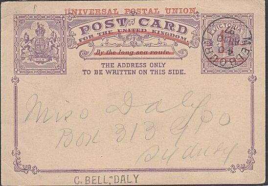 VICTORIA AUSTRALIA 1897 1½d on 2d UPU postcard used - Melbourne cds.........3897