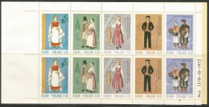 FINLAND  522A  MNH,  COMPLETE BOOKLET,  REGIONAL COSTUMES