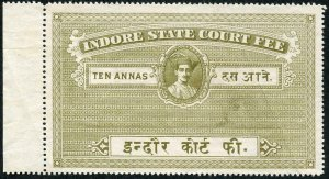 Indore State Court Fee 10 annas Un-used (no gum) creased