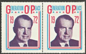 1972 NIXON  GOP Generation of Peace  Vintage Poster Stamp (X2)