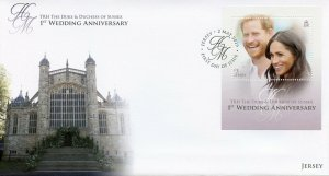 Jersey 2019 FDC Prince Harry Meghan 1st Wedding 1v M/S Cover Royalty Stamps