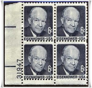 SC#1393 6¢ Dwight D. Eisenhower PB (Shiny Gum) MNH