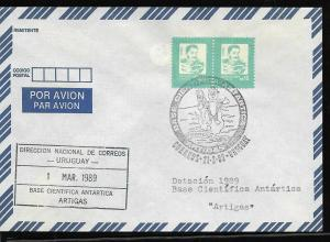 AANT-241 URUGUAY 1989 ANTARCTIC STATION ARTIGAS CREW CHANGEMENT COVER